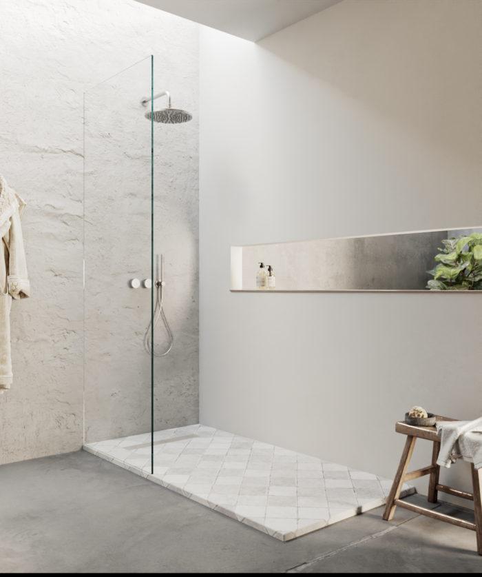 Tiles grid design shower tray